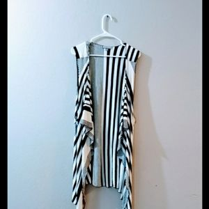 Kate n Mallory Striped waterfall duster/ cardigan